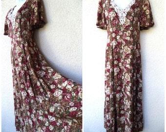 1990s MAXI DRESS. Romantic Dress. 90s Maxidress. Grunge Revival Dress. Long Dress. Boho Dress. Floral Dress. Corset Lacing. LACE.  Medium