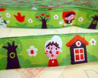 "SALE - Half Price - Little Red Riding Hood - Jacquard Ribbon - 5/8"" x 1 yard"