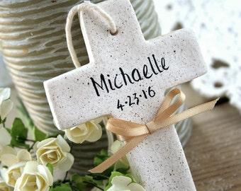 Personalized Cross, Baptism favors,communion favors,Baptism napkin ties,Tree decor,Christening gift,Christening tags, 1 st Communion gift