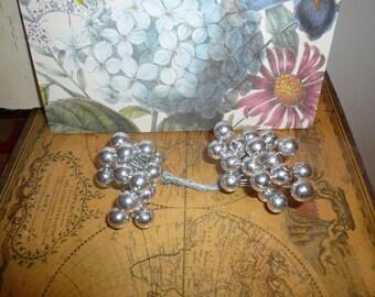 Argent baies Double fin fil tige Noël Decor fleur fabrication Pip argent fournitures d'artisanat de VintageStudioSupply
