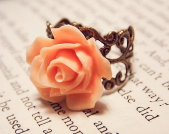 Peach and Bronze Rose Ring