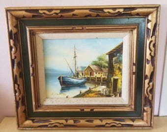 Vintage L SALEIDO oil  on canvas painting  boat  Dock On  Water ARTIST SIGNED