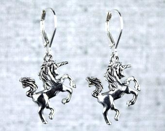 Unicorn earrings on sterling silver leverback hooks