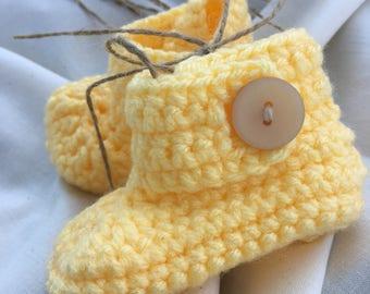 Yellow crocheted baby booties, baby shoes, yellow shoes, baby booties, yellow baby gift, baby gift, baby shower, crochet, modern crochet