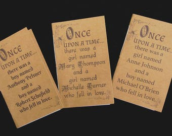 Personalized Love Story / Fairy Tale Notebook / Journal  Favors for Engagement Party, Hen Party, Bridal Shower, and Wedding(Set of 5)