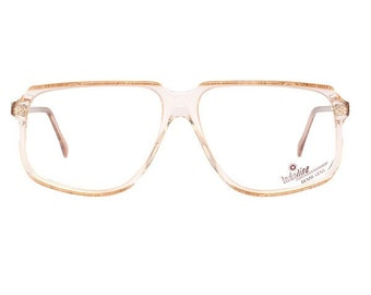 vintage brown glasses - transparent eyeglasses frames from the 80s - square cazal style flat top - deadstock copper color