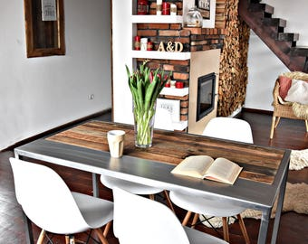 Hand Crafted 6 seater farmhouse style Reclaimed Wood & Steel Dining Table Handmade Industrial Kitchen Table old wood