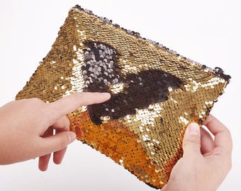 Gold And Black Reversible Gold Sequin Carry All Pouch, School Supply Bag, Cosmetic Bag, Cute Pencil Case, Free Shipping Worldwide