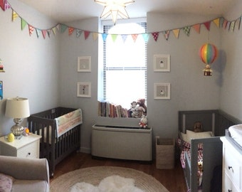 Kids Room Decor CUSTOM 30 Foot Bunting, Wedding Party Flags, Birthday Decoration, Photo Prop.  LARGE Flags Cotton Fabrics Popular Designers.