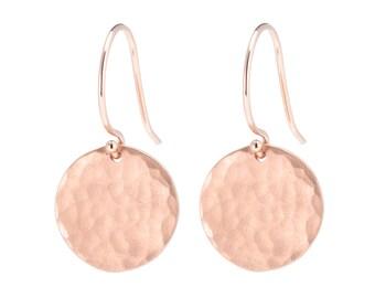 14K Rose Gold Hammered disc earrings, Solid 14K Rose Gold Earrings, 14K Gold Disc Earrings, Textured Disc Earrings, Gift for Her