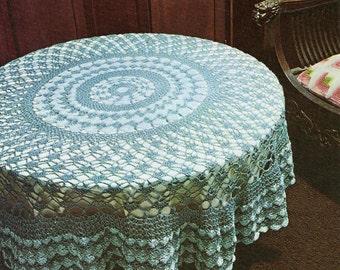 Crochet Pattern, Crochet Home Decor, Shell Stitch Tablecloth Pattern, Housewarming Gift Idea, INSTANT Download  Pattern in PDF (1004)