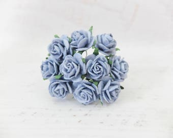 20mm blue mulberry roses - 2 cm