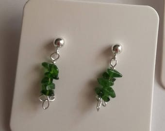 Green tourmaline 925 sterling silver earrings small gift for her