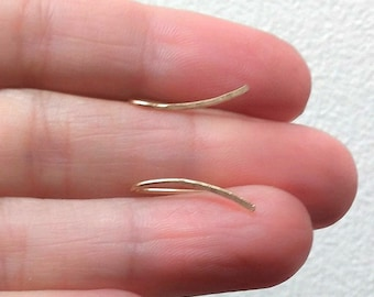 Long Hammered Ear Climbers, Climber Earrings 30mm , Handmade Jewelry, Rose Gold Earrings, Gold Filled Earrings, Ear Crawlers