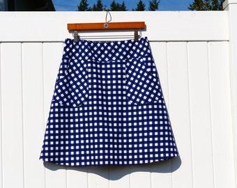 Navy Blue and White Gingham A-line skirt ,Gingham Skirt, Skirt with Pockets, Apron Pockets, Custom Made Skirt, women's hip sizes 30''-56''