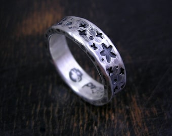 Made to order rustic starfield ring, sterling silver space band with dark antique patina