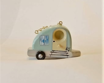 Ornamental Tear Drop Trailer Birdhouse , Original Design , Handcrafted