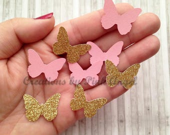 200 pcs Butterfly Confetti, Glitter Pink and Gold Butterflies, Butterfly Punches Table Scatter