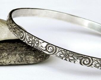Solid Silver Bangle Bracelet - Ornate Floral Vintage Look Bangle - Heavy Solid Sterling Bangle - Stacking Bracelets