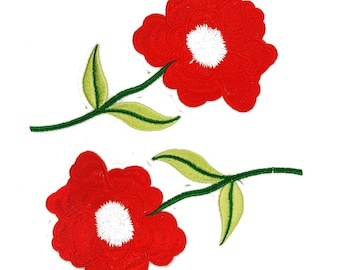 Iron On Red Roses Flowers Patches Appliques, Hot Fix Red Flowers, Embroidered Flower Patches