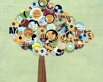 Full Circle Tree - The Traveler - 8x10 Collage Reproduction Print - Green, Peach, Maroon, brown