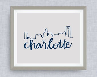 Charlotte Skyline Art Print - Queen City NC, hand drawn, hand lettered, Option of Real Gold Foil