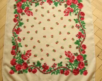 100% wool floral shawl 60' Rose  Scarf Vintage  Romantic retro folk roses scarf gipsy boho floral scarf wool ukrainian scarf folk scarf wool