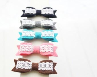 Mini felt bow- Set of 5 - Baby girl headband- Toddler headband- Hair accessories- headbands- baby shower gift- Photo prop-