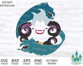Ursula Flotsam and Jetsam, Disney Villains, Disney Inspired Cutting Files in Svg, Eps, Dxf and Png Format