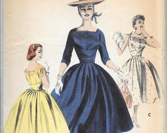 Vintage 1950s Or 1960s Butterick 7601 Full Skirt Fitted Dress Square Neck Sewing Pattern Size 16 Bust 34