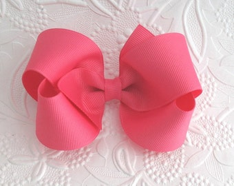 """Toddlers ~ Girls 4"""" Hot Pink Boutique Hair Bow"""