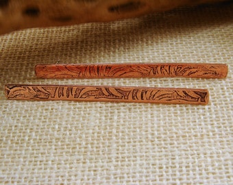 Etched or Textured Copper Bar Earrings with Sterling Silver Posts, Mixed Metal Etched Earrings