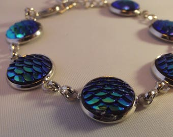 Silver Dark Blue Green Iridescent Dragon Scale Handmade Lobster Clasp Bracelet