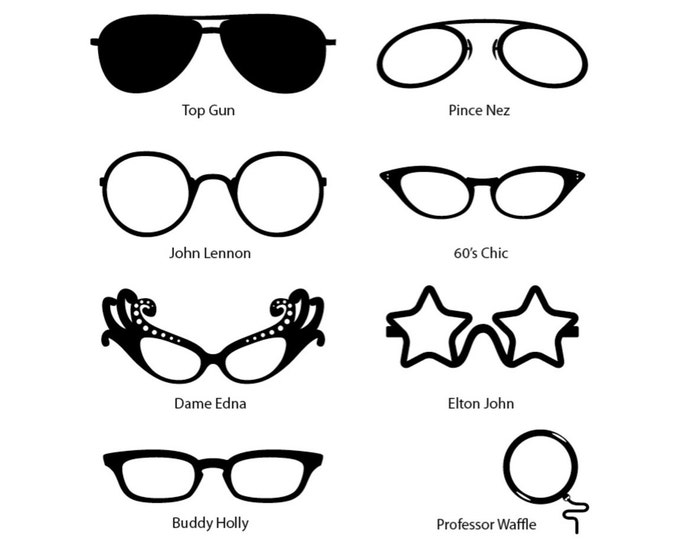 Comedy Fun Celebrity Glasses Wall Stickers for the mirror or window, wall decals