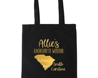 South Carolina Bachelorette Personalized Tote Bag // Gold // Silver //  Personalized Tote Bag Custom Map Tote Bag// Charleston Bachelorette
