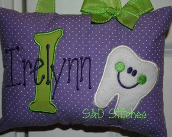 Tooth Fairy Pillow For Girls Personalized Polka Dot Purple Tooth Chart