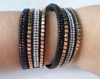 x 1 38 cm gold cuff pattern rhinestone/Stud black MULTISTRAND leather bracelet