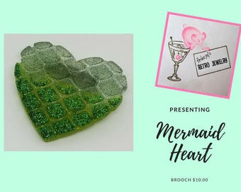 Mermaid Heart Brooches