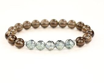 Aqua Aura Quartz Bracelet Smokey Quartz Bracelet Healing Crystal Bracelet Throat Chakra Bracelet Gift for Her