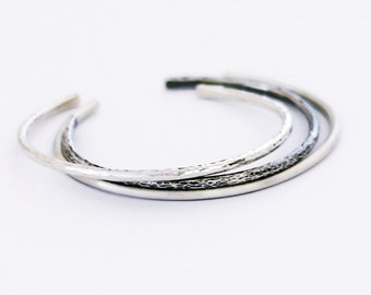 Set of Three Minimalist Sterling Silver Cuff Bracelet