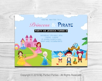 Personalised Princess and Pirate Children's Birthday Party Invitations - PACK OF 10