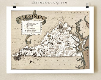 VIRGINIA MAP PRINT - picture map - illustrated map print - wedding gift idea - color choices - may be personalized - southern home decor