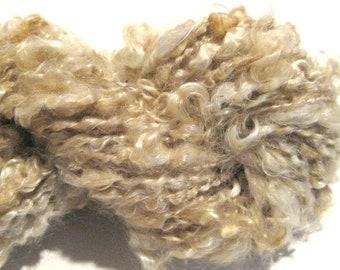 Mini Skein Lockspun Super Bulky light brown handspun yarn 25 yards mohair locks spiral art yarn knitting supplies crochet supplies doll hair