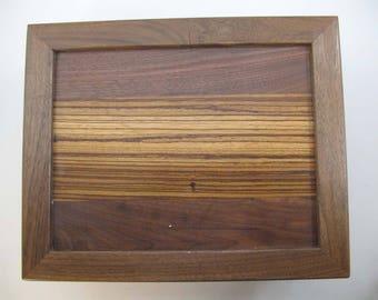 Secret.compartment.Black Walnut box.Hiding Place.Keepsake.or.Memory box.Gift for him.Retirement.Dresser valet.Anniversary.or.Birthday.gift