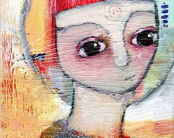 "Lisa - 5x7"" Original Mixed Media portrait painting"