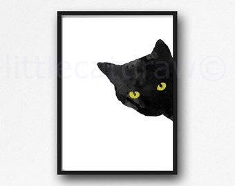 Sneaky Cat Print Black Cat Watercolor Painting Print Bedroom Wall Decor Cat Art Black Cat Lover Gift Cat Decor Home Decor Unframed