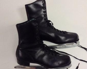 Mens Vintage Black Leather Ice Skates