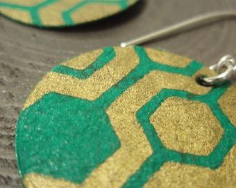 Geometric Turquoise and Gold Medium Earrings