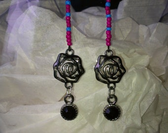 Magenta & Sky Blue Rose Drop Earrings