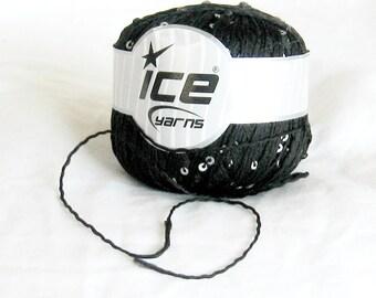 Sequin, Ice yarn, black, silvery sequins, twisted yarn, destash yarn